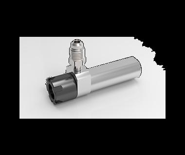 CS-16-250-050GC:   ER16 Coolant Collet Sleeve Ø25 x50mm Shank wFlat, Thru, No Stop Mini-Nut S/R Port