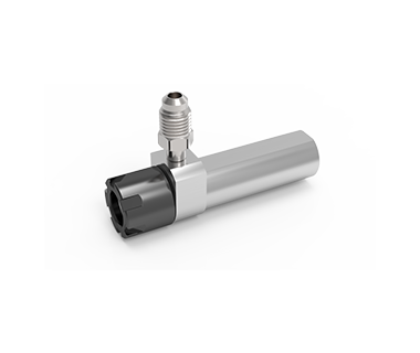 "CS-16-254-050GC: ER16 Coolant Collet Sleeve Ø1.0 x1.97"" Shank w/Flat, Thru No Stop Mini-Nut S/R Port"