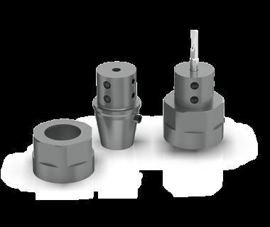 CQS-SH16-19701: ER16 w 5mm Bore-Boring Adaptor w/M19 x 1mm Nut and Locator Pin