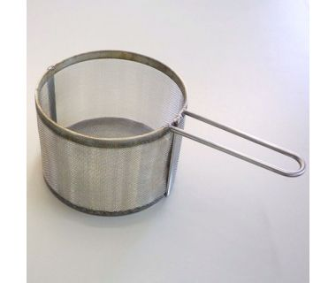 """MiJET® SS Parts Basket - fine mesh, with 1 handle - 8"""" dia. angled top, 13.0"""" x 7.25'"""" x 5.0"""""""