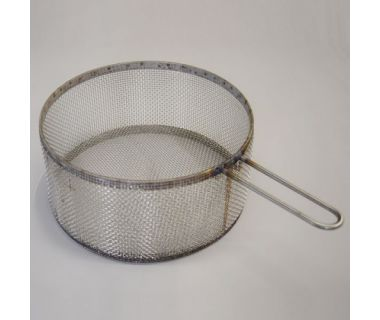 """MiJET® SS Parts Basket - fine mesh, with 1 handle - 12"""" dia. angled top, 16.25"""" x 10.13'"""" x 5"""""""