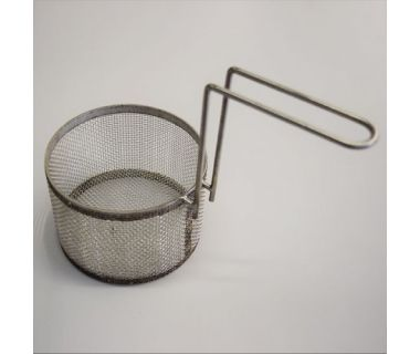 """MiJET® SS Parts Basket - fine mesh, with 1 handle - 8"""" dia. angled top, 13.5"""" x 7.25'"""" x 9.75"""""""