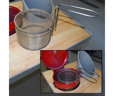 """MiJET® SS Parts Basket - fine mesh, with 1 handle - 12"""" dia. angled top, 17.0""""x10.13'""""x11.25"""""""