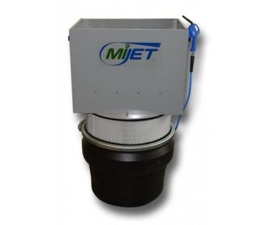 """MiJET® Flat Top 8"""" dia. with Silvent Low Noise Nozzle, Dolly, and Fine Mesh dbl. handle parts bskt"""